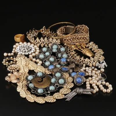 Vintage Jewelry Including Hattie Carnegie and Art Glass