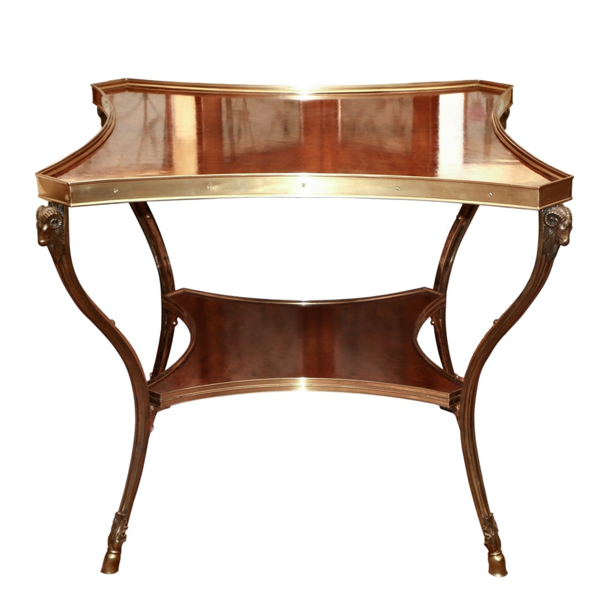 Maitland Smith Case Brass and Walnut End Table With Ram Motifs
