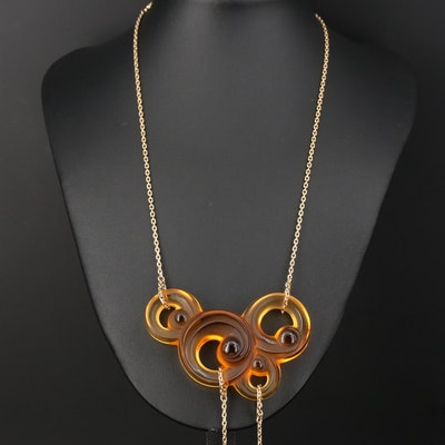 """Lalique """"Lijiang Ambre"""" Crystal Necklace From the """"Three Elements Collection"""""""