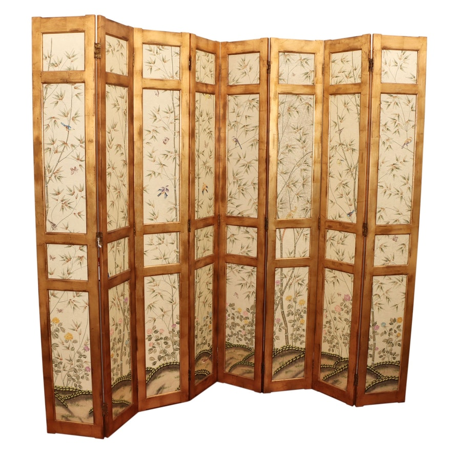 Clossons Bamboo Motif Eight-Panel Folding Room Divider Screen