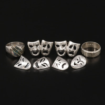 Mexican Sterling Silver Theater Masks Cufflinks, Buttons and Abalone Rings