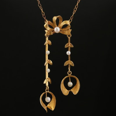 Belle Époque 18K Gold Seed Pearl Negligee Necklace