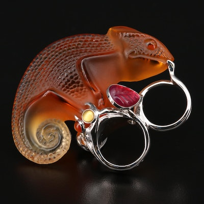 Lalique Sterling Silver Glass Chameleon Ring