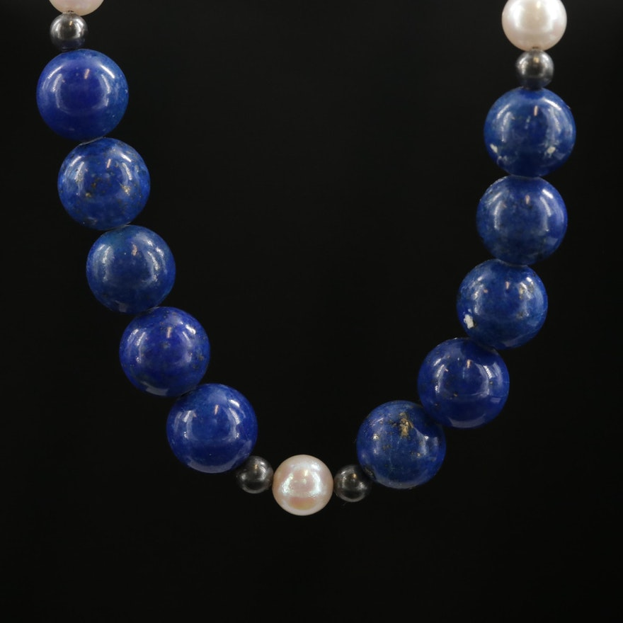 14K Lapis Lazuli Beaded Necklace with Pearl Accents