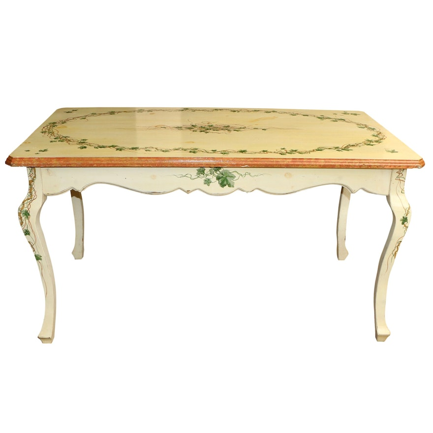 Flowers of the Meadows Vintage Hand Painted Wooden Dining Table