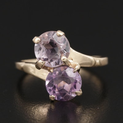 14K Gold Amethyst Bypass Ring