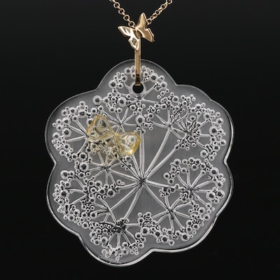 Lalique Floral and Butterfly Glass Pendant Necklace