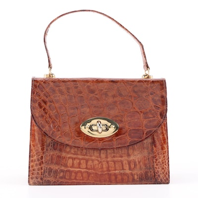 Caiman Skin Handbag with Matching Coin Purse and Pocket Mirror, Vintage