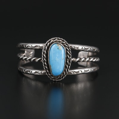 Signed Southwestern Sterling Silver Turquoise Cuff