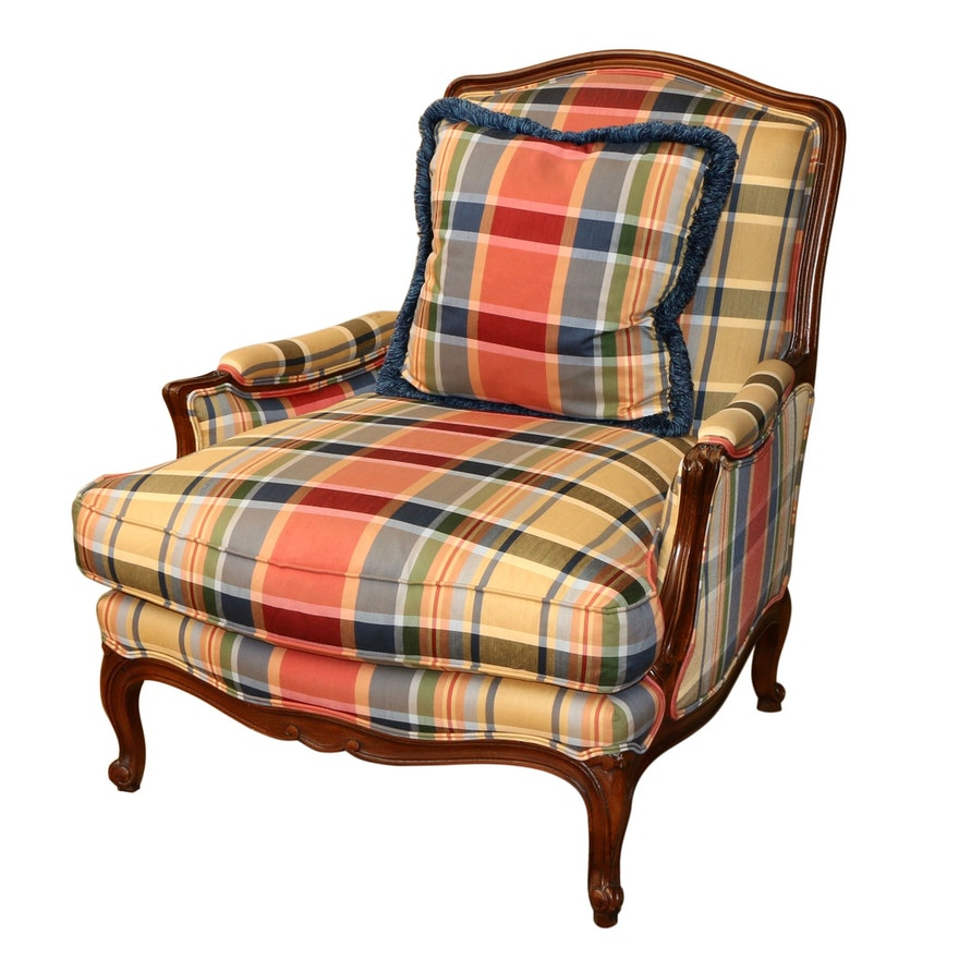 Henredon Schoonbeck Collection Plaid Upholstered Armchair