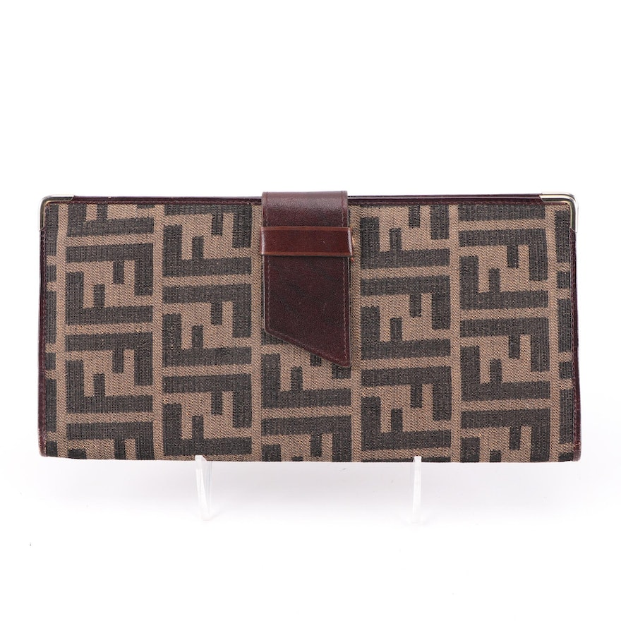 Fendi Passport Wallet in Tobacco Zucca Canvas and Leather, Vintage