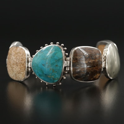 Silpada Sterling Silver Turquoise and Jasper Link Bracelet