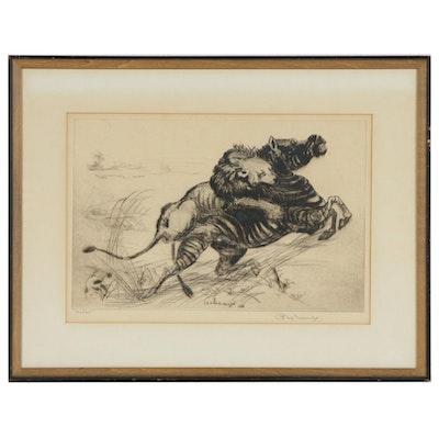 "Fuji Nakamizo Etching ""Combat"", circa 1926"