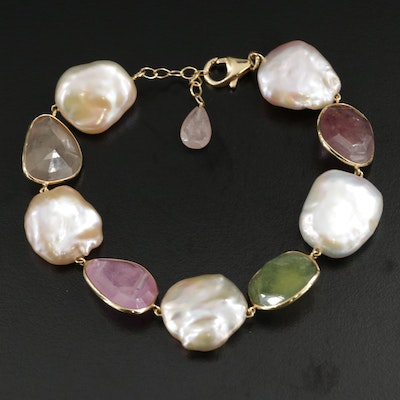 18K Gold Pearl and Corundum Bracelet