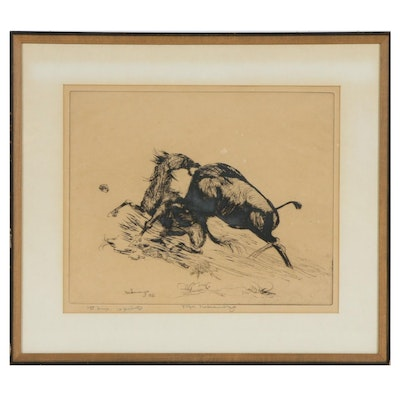 Fuji Nakamizo Horse and Bull Etching, circa 1926