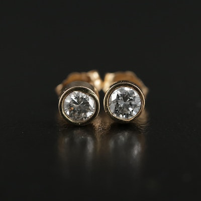 14K Gold 0.50 CTW Diamond Bezel Stud Earrings