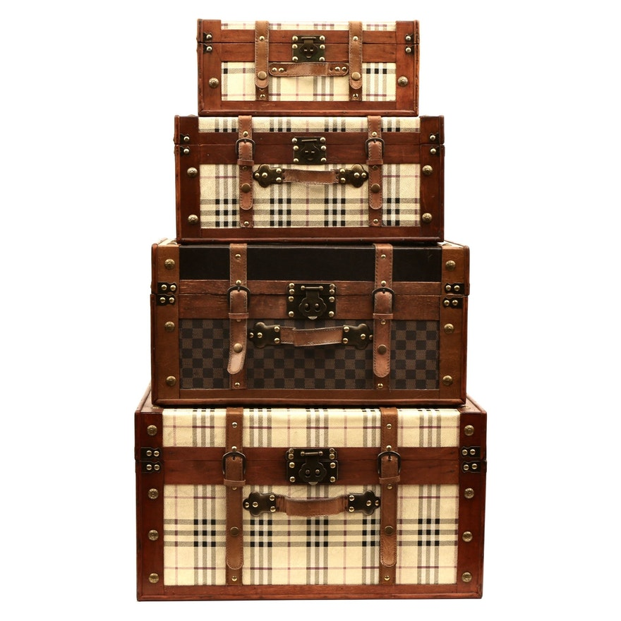 Plaid, Leather and Wood Decorative Travel Suitcases with Studs