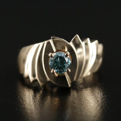 14K Gold Diamond Ring with Stepped Shoulders