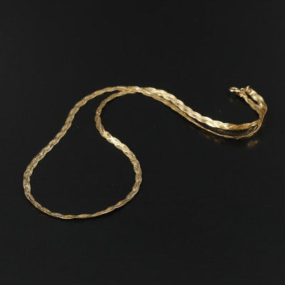 14K Yellow Gold Weaved Herringbone Chain Necklace