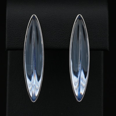 Lalique Sterling Silver Crystal Earrings