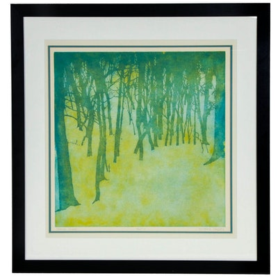 "Richard Casey Color Etching ""Spring Slope"", Late 20th Century"