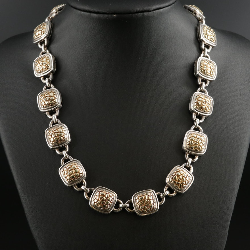 Charles Krypell Sterling Silver and 14K Gold Link Necklace