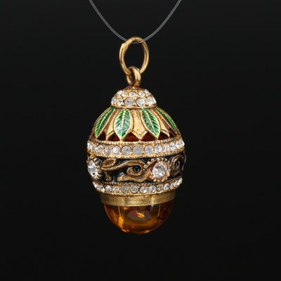 900 Silver Amber, Enamel and Rhinestone Pendant