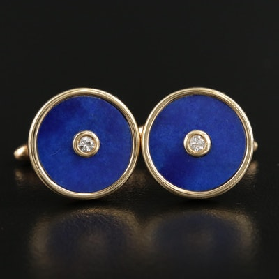 14K Gold Diamond and Lapis Lazuli Cufflinks