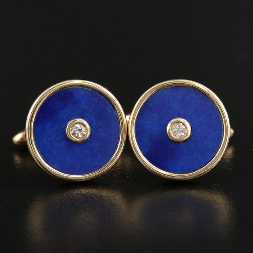 14K Gold Diamond and Lapis Lazuli Cufflinks