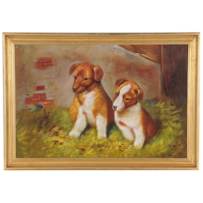 Oil Painting of Two Puppies