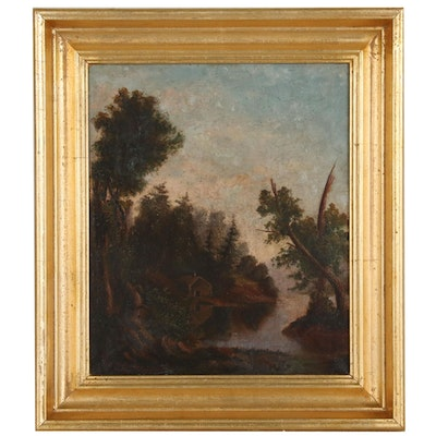 Oil Painting of Bucolic Landscape, Late 19th Century