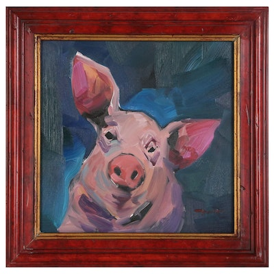"Jose Trujillo Oil Painting ""The Pig"""