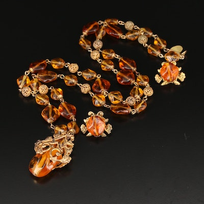 Miriam Haskell Vintage Imitation Amber Necklace and Earrings Set