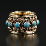14K Yellow Gold Turquoise Band