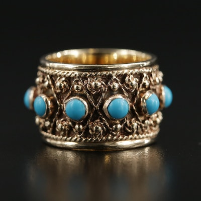 14K Yellow Gold Turquoise Braided and Cannetille Band