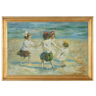 """Oil Painting after Edward Henry Potthast """"Ring Around the Rosy"""""""