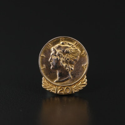 Bastian Brothers Company 14K Yellow Gold Liberty Coin Motif Pin
