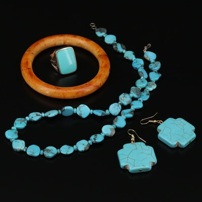 Sterling Silver Jewelry with Calcite, Turquoise and Magnesite