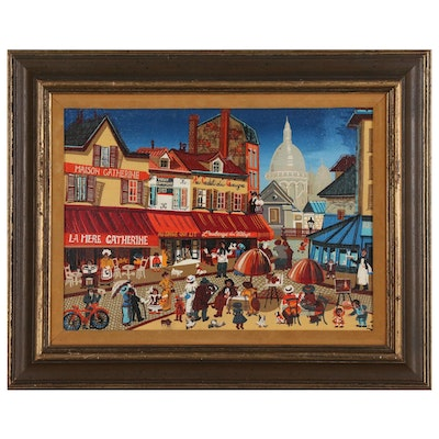 Oil Painting of Parisian Street Scene