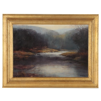 """George Rogers Wilson Mixed Media Painting """"Late November"""""""