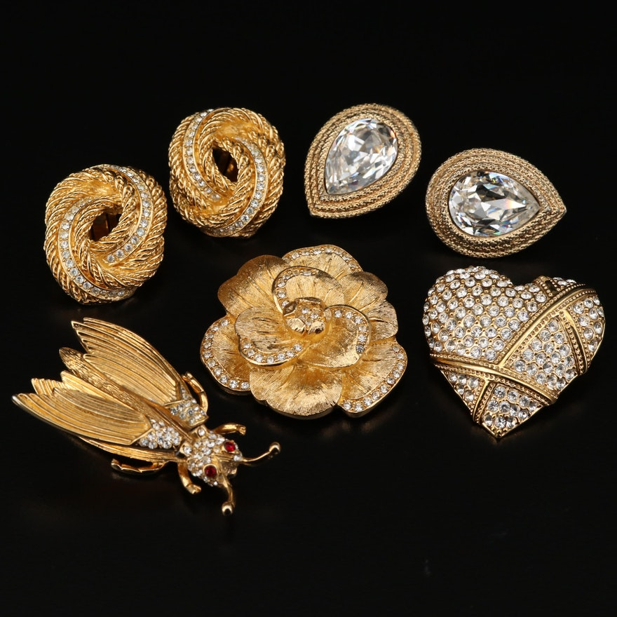 Christian Dior, Edwin Pearl, Garnay and Ginnie Johnson Brooches and Earrings