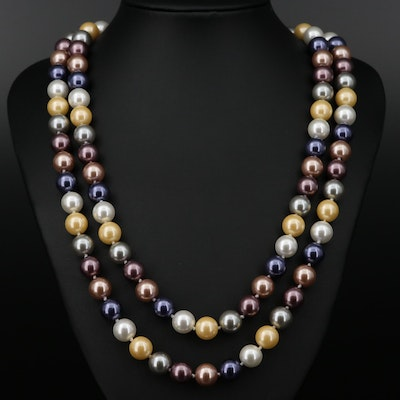 Kenneth Jay Lane Hand Knotted Imitation Pearl Necklace