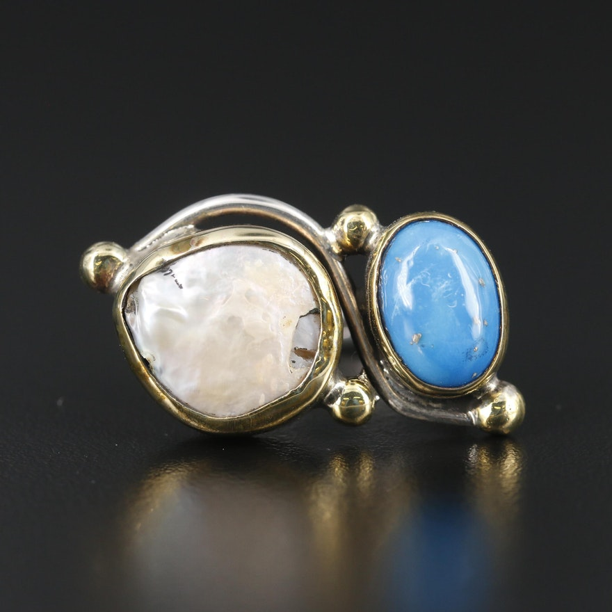 Sterling Silver Mother of Pearl and Turquoise Ring