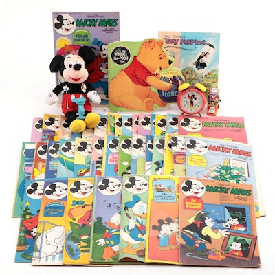 Bradley Alarm Clock with Mickey Mouse Stuffed Doll and Disney Books