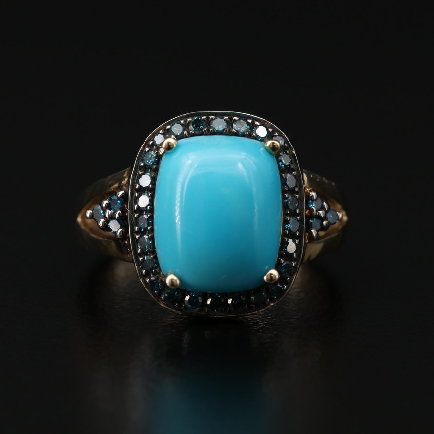 Sterling Silver Turquoise and Diamond Ring