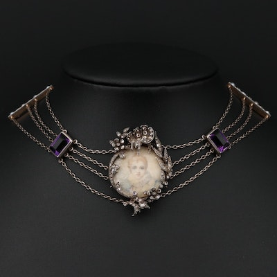Antique Gold and Silver Pearl, 1.36 CTW Diamond and Amethyst Necklace