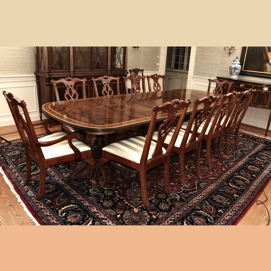 Bernhardt Chippendale Style Mahogany Leaf Dining Table and Chairs