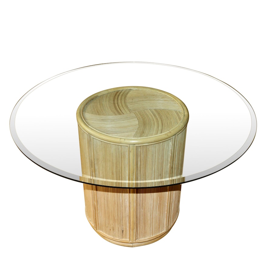 Glass Top Round Table With Wicker Base