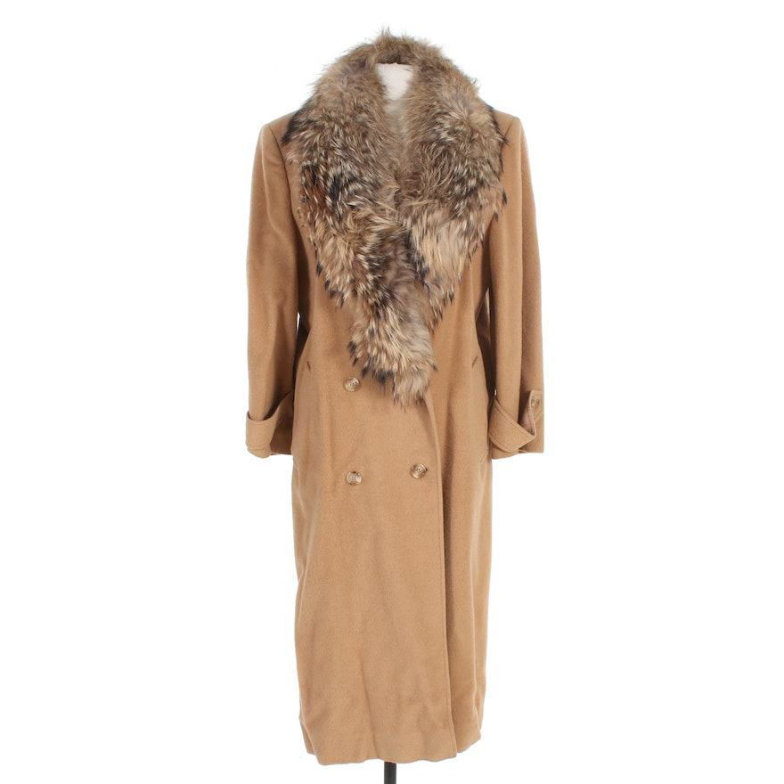 J. Percy for Marvin Richards Wool Double-Breasted Coat with Fox Fur Collar