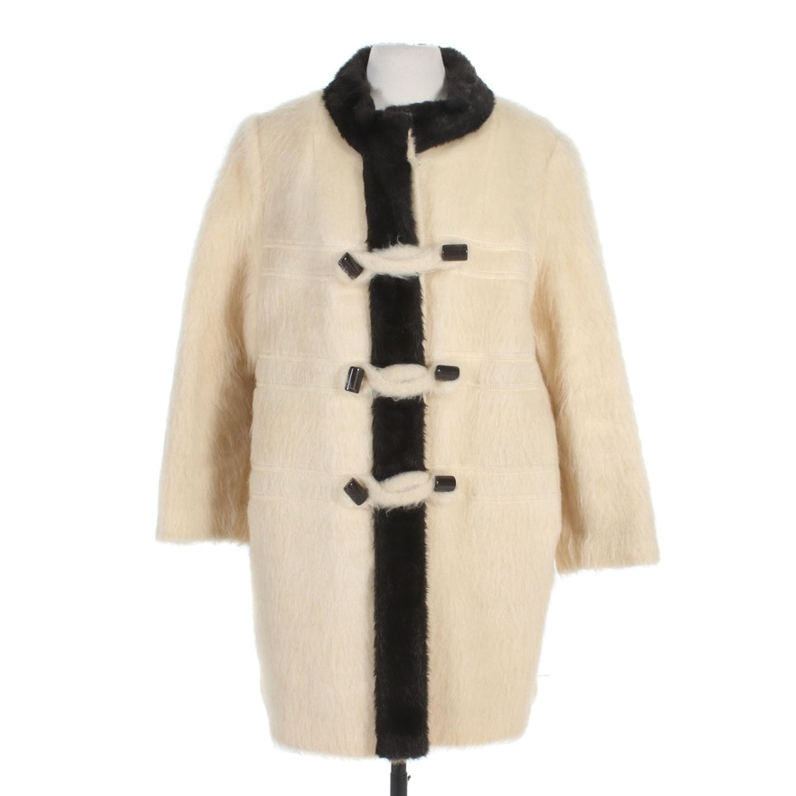 Styled by Davis of Boston Faux Fur Toggle Coat, 1960s Vintage